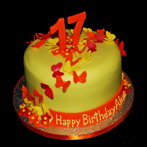 Red, Orange and Yellow Butterfly 17th Birthday Cake