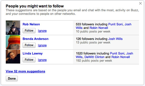 Google Buzz Follow Suggestions