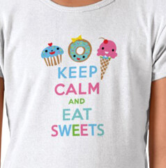 Keep Calm and Eat Sweets t shirt (birdarts) Tags: cakes cupcakes donuts icecream sweets monsters cartoons icecreamcone cupcakelove printedtshirt keepcalmandcarryon ilovecupcakes kidstshirt kidsshirt andibird donuttshirt tshirtsgraphic