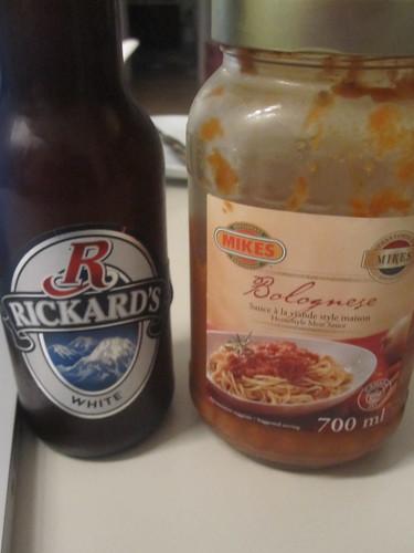 Beer, spaghetti