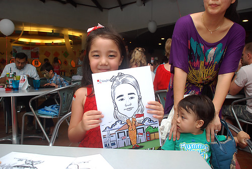 Caricature live sketching for The British Club and Singtel -12