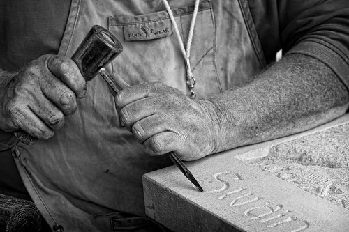Stone carver at Dublin Irish Festival