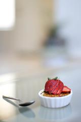 Creme Brulee (michelle | une-deux senses) Tags: food cremebrulee recipe dessert strawberry bokeh sugar eat