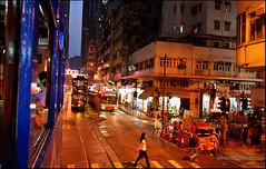 Hong Kong Street at twilight (Stefan Bock) Tags: street people canon hongkong twilight tram canon400d