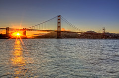 """Sun Stars"" - Golden Gate Bridge during Sunset (Ellen Yeates) Tags: ocean sanfrancisco bridge sunset summer vacation sky orange cloud sun water fog ferry poster stars photography gold star golden bay ellen photo gate tour view hill picture bluesky tourist best goldengate poi hdr mountian yeates sunstars orangefog ellenyeates worldhdr"
