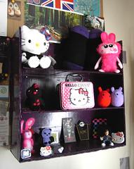 Purple shelves (Sneddonia) Tags: uk studio toys purple handmade hellokitty cardboard etsy recycling creatures eco shelves thrifty sneddonia