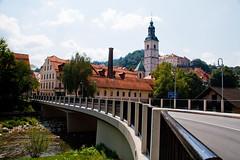 Old town and new bridge (Karmen Smolnikar) Tags: new old city bridge houses castle church river town slovenia slovenija sora skofjalokakofjaloka