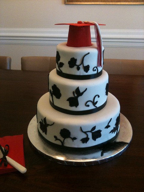 Black and White Graduation Cake