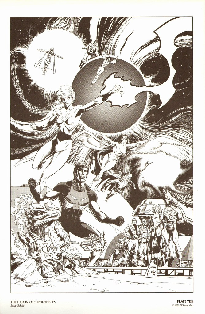 Steve Lightle print from History of the DC Universe portfolio, 1986