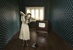Ontogeny (Leah Johnston) Tags: house selfportrait self book miniature tv doll poetry dolls leah fineart creepy tiny scream static insanity portfolio poems johnston dollhouse psychward whitemask ontogeny inthedollhouse leahjohnston americandollhouse