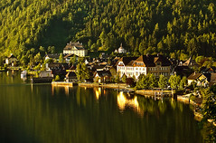 Morning Light (NatashaP) Tags: morning trees houses light summer vacation lake reflection landscape austria hill explore interestingness161 hallstattlahn