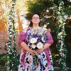 Jenny (lauralani) Tags: flowers wedding summer portrait 6x6 analog mediumformat bride friend colorful symmetry ridgecrest seagulltlr lauradeangelis lauralani jennyvanbrunt
