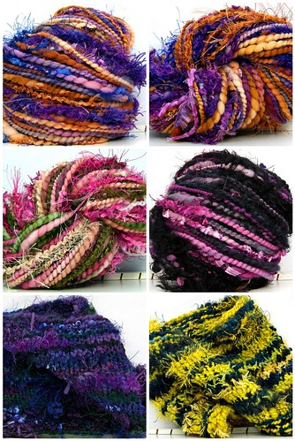 New Hand Spun Art Yarns and Cowls knit with art yarns