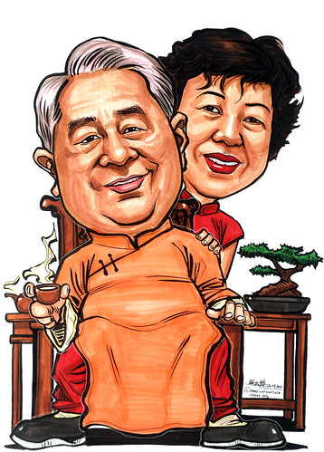 Towkay and China calendar girl caricatures