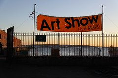 Art Show Banner - Red Hook Waterfront, Brooklyn (ChrisGoldNY) Tags: city nyc newyorkcity sunset summer urban usa signs newyork art water yellow brooklyn america forsale waterfront fences albumcover gothamist bookcover banners redhook magichour chrisgoldny chrisgoldberg chrisgold chrisgoldphoto chrisgoldphotos