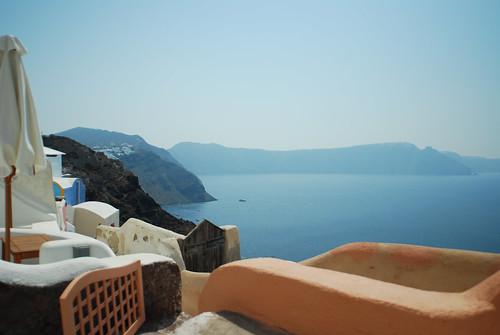 Vista do apartamento em Santorini