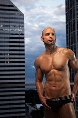 Ivan - City - 02 (davco9200) Tags: portrait sky lake man water glass pecs clouds skyscraper evening slick nipple underwear skin muscle chest ivan tan bald ab strong abs lat bicep stubble pec disel lats porntrait