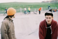 paul and joe (sam_hutchinson) Tags: 2 portrait england 3 slr film speed out bay kodak 10 5 north olympus om10 200iso east iso skatepark 200 years asa date om expired asa200 sunderland konika whitley outofdate