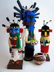 My Kachinas:  Angwusnasomtaka, Talavai and Palavitkuna (Dave Shaddix) Tags: lego hopi kachina