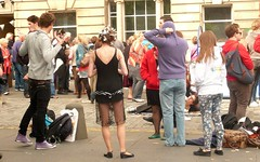 Edinburgh Fringe Festival: The Wild Party (chairmanblueslovakia) Tags: street ballet festival scotland high edinburgh legs skin stage capital royal scottish fringe skirt flats burn burnt mile picnik leggings 2010 rbs curlers