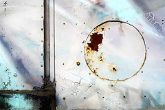 corrosion of conformity (zapota) Tags: abstract metal circle rust paint geometry cyan structure bolt corrosion