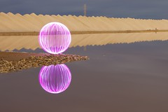 Ball of Light - Round and Light (biskitboy) Tags: lightpainting color colour reflection art canon purple bright dunes salt orb australia led salty adelaide brightlights orbs saltflats balloflight lightjunkie anglevale