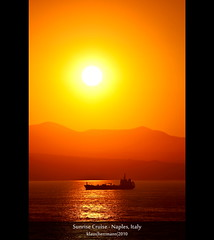 Sunrise Cruise - Naples, Italy [Explored] (farbspiel) Tags: ocean travel cruise red sea vacation italy orange sun holiday seascape colour rot tourism water colors sunshine silhouette yellow photoshop sunrise landscape geotagged photography gold dawn golden see soleil nikon colorful wasser mediterranean ship colours campania shoreline gelb journey ita napoli handheld naples colourful nikkor landschaft aida mediterraneansea farben sonnenschein mittelmeer ozean 18200mm d90 farbenpracht aidabella klausherrmann nikonafsdxnikkor18200mm13556gedvr geo:lat=4078210123 geo:lon=1425304413