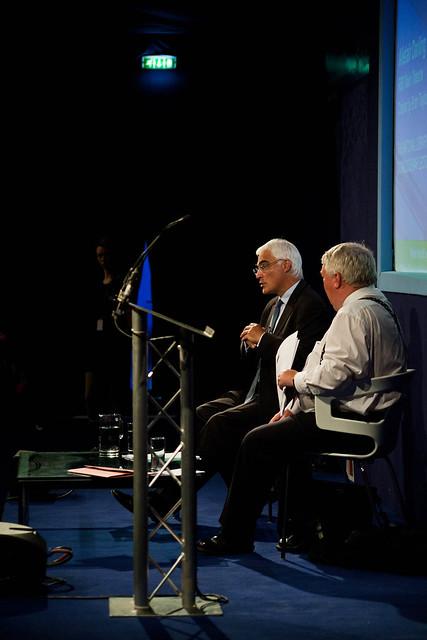 Alistair Darling talking to Brian Taylor