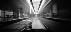 (arndalarm) Tags: bw reflection analog mediumformat airport shanghai symmetry sw analogue   flughafen pudong departure ilford reflektion  terminal2 movingwalkway symmetrie abflug pvg laufband ilfordpanfplus iso50 mittelformat 6x12 asymmetrya f135 arndalarm zhnggu shanghaipudonginternationalairport   holga120wpc shnghipdnggujjchng 0804001klein