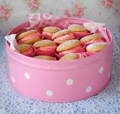 Polka dot tin of whoopie pies (toriejayne) Tags: pink blue strawberry lace polkadot whoopiepies caketin cupcakecases