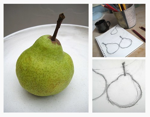 Pear, plate and sketches