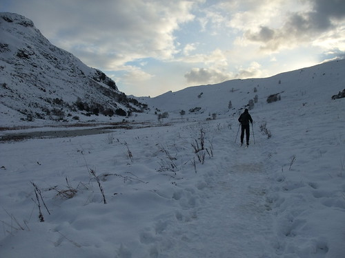 Ski touring in Holyrood Park, Edinburgh