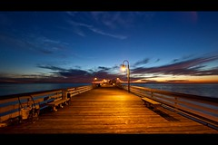 night (Eric 5D Mark III) Tags: ocean california light sky usa cloud seascape reflection lamp night canon fence bench landscape pier vanishingpoint twilight mood unitedstates perspective atmosphere wideangle orangecounty sanclemente ef14mmf28liiusm eos5dmarkii