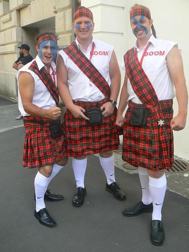 Braveheart-bedecked Scottish supporters.