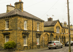 245 -  Saltaire - Titus Street from Victoria Road (1 of 1) (md2399photos) Tags: 2jun17 almshouses davidhockney robertspark saltaire saltaireunitedreformedchurch saltsmill victoriahall