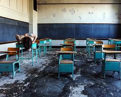 We learn in the retreating (sadandbeautiful (Sarah)) Tags: me woman female self selfportrait abandoned classroom desks school abandonedschool abandonedchurchschool church ny newyorkstate