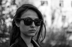 Anna (ivan_volchek) Tags: girl goggles black white kurta hair lips nose neck leather bokeh eyebrows