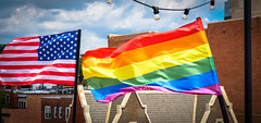 2017.07.02 Rainbow and US Flags Flying Washington, DC USA 7197