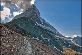 The way to the refuge of Matterhorn & Hörnli (The Hörnli Hut  ,Hörnlihütte ,) No, 1911.