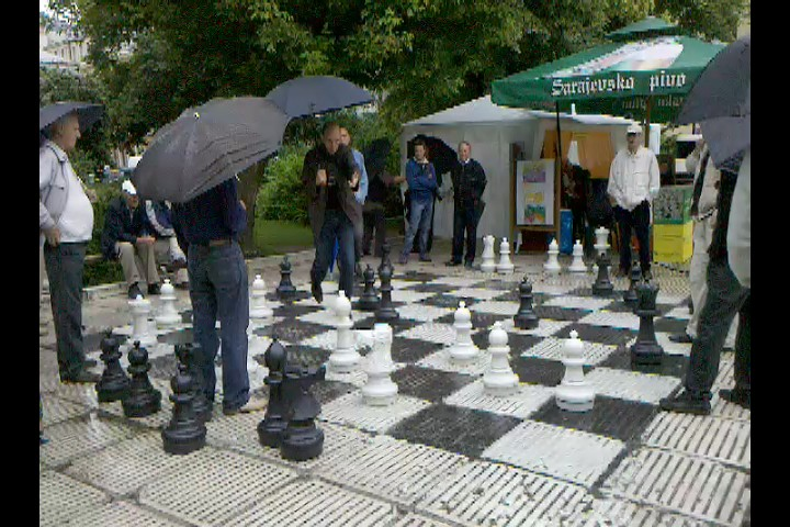 Trip Day 22: Bus ticket to Sarajevo, 24€. Watching men argue over an outdoor giant chess set: Priceless.
