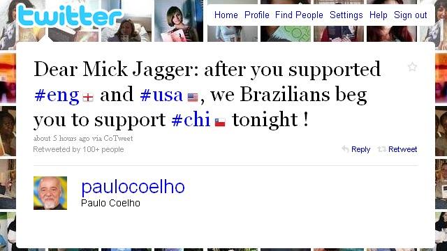 Paulo Coelho Mick Jagger twitter