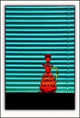 Cool Orange (E.M.Thomas) Tags: orange aqua blinds pitcher nikon2470mm stilllifephotoart