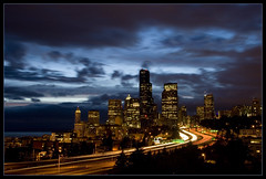Downtown Seattle at dusk (neverhood312) Tags: seattle city longexposure light red cloud white lightpainting building tree green car night river washington downtown northwest i5 tripod trail freeway emerald homepage byu lighttrail