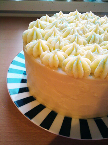 Whiteout Cake with White Chocolate Cream Frosting
