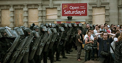 Open Saturdays! (tomms) Tags: toronto chaos protest police anarchy riots g8 teargas fortified arrests g20 riotshields