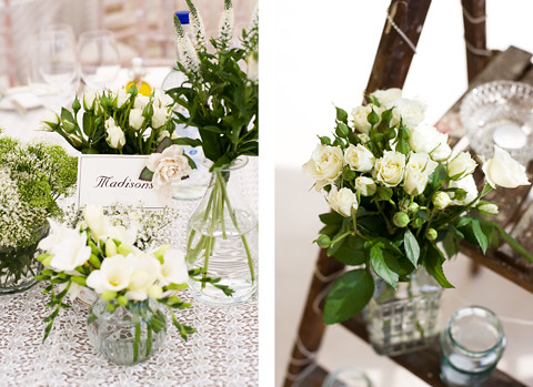 Table centre pieces and room decor all flowers from the garden at
