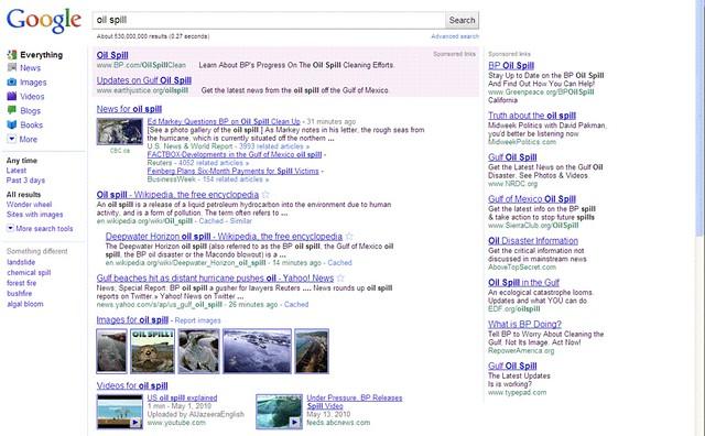 Google SERP for oil spill