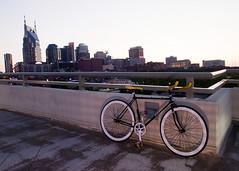 Ridin in the city (HoorayParaPulse) Tags: bike bicycle skyline nashville fixie fixedgear shelbypedestrianbridge