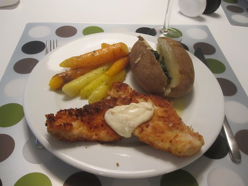 lemon fried chicken, garden carrots, baked potato with dill butter