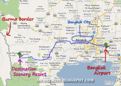 direction to scenery from bangkok